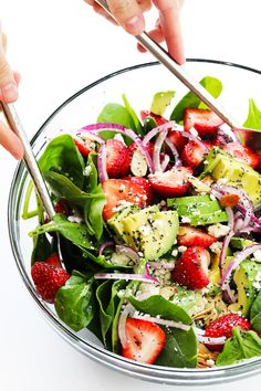 Gimme Some Oven Avocado Strawberry Spinach Salad with Poppyseed Vinaigrette Recipe