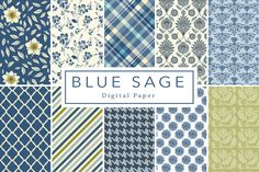 40% off Blue Sage Backgrounds by Lilly Bimble on Creative Market
