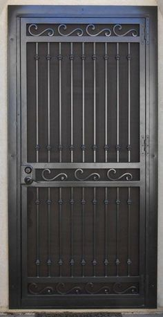 Entry Doors Archives - Whiting Iron and Great Gates in Phoenix AZ Door Grill, Window Grill Design, Steel Gate Design, Iron Gate Design, Steel Security Doors, Security Screen, Security Gates, Wrought Iron Doors, Iron Decor