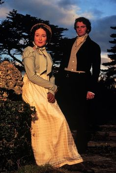 Jennifer Ehle and Colin Firth as Elizabeth Bennet and Fitzwilliam Darcy Colin Firth Mr Darcy, Darcy And Elizabeth, Elizabeth Bennett, Darcy Pride And Prejudice, Jennifer Ehle, Becoming Jane, Jane Austen Books, Beautiful Costumes, Romance Movies
