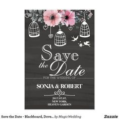 Shop Save the Date - Blackboard, Doves, Cage, Flowers created by MagicWedding. Blackboard Art, Good Cheer, Blackboards, Save The Date, Smudging, Cage, Paper Texture, Dating, Mariage
