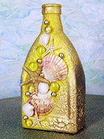 Купить декоративные бутылки с ракушками для интерьера морского ресторана: Украина