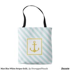 Mint Blue White Stripes Golden Anchor Tote Bag