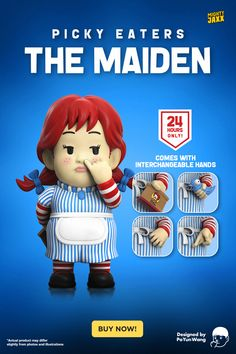 """What is she hiding behind her back?! Picky Eaters: The Maiden by @poyun_wang is available now for 24 hours only! Switch it up with your favourite interchangeable hand! 8"""" vinyl art toy // $149 with free shipping // Complimentary 12"""" x 12"""" handkerchief #mightyjaxx #limitededition #popculture #arttoy #hottoy #toycollector #toyart #art #vinyltoys #toys #collectibles #designertoy #popart #poyunwang #wendys #龍江唐伯虎 #availablenow Vinyl Toys, Vinyl Art, Savage Comebacks, Toy Collector, Designer Toys, Picky Eaters, Blue Bird, Pop Culture, Pop Art"""