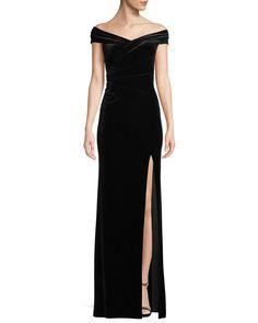 668cdf235da44a Off-The-Shoulder Front-Slit A-Line Velvet Evening Gown Velvet Gown