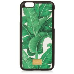 Dolce & Gabbana Banana leaf-print leather iPhone® 6 case ($150) ❤ liked on Polyvore featuring accessories, tech accessories, phone, fillers, phone cases, extra, bags and green white