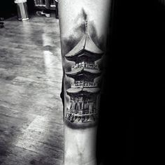 Discover unique architecture ink with the top 50 best Japanese temple tattoo designs for men. Explore cool Buddhist ink ideas and religious buildings. Unique Architecture, Japanese Architecture, Japanese Temple Tattoo, Criminal Tattoo, Inner Forearm Tattoo, Traditional Japanese Tattoos, Tattoo Shows, Tattoo Designs Men, Tattoo Ideas