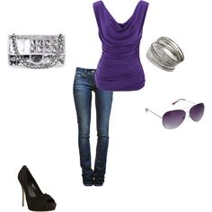 Woa. I just discovered Polyvore. This is my first set: Purple and Silver