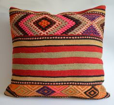 Sukan / Organic Modern Bohemian Throw Pillow Handwoven  Kilim Pillow Cover