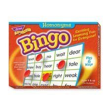 Homophones Bingo Game by Trend. $10.54. Sturdy storage box is filled with everything you need. Learn the definitions and spellings of 59 homonyms, and how to correctly use them in a sentence. Ideal for 4th-8th grade (ages 9-13). Traditional 5 x 5 grid format can be played six ways to meet all skill levels. Ideal for large or small groups. Have fun learning the definitions and spellings of 59 homonyms, and how to correctly use them in a sentence. Builds spelling and vocabulary...