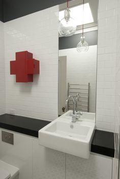 Black and white bathroom with Capellini medicine cabinet and Jatana tiles. Bathroom, Lighted Bathroom Mirror, House, Pendant Light Cord, Home, White Wooden Box, White Bathroom, Bathroom Mirror, Home Decor