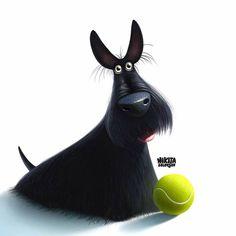 inspiration from https://www.facebook.com/GroovyartPostcards #DogCartoon
