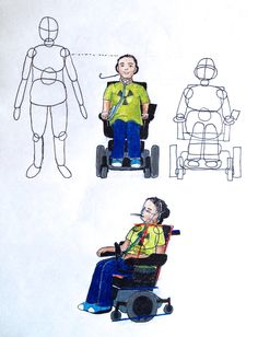 I Sat Down For A Few Hours And Tried To Figure Out How To Draw A Person In A Wheelchair Wheelchairs Just Like Th Person Drawing Drawing Activities Wheelchair