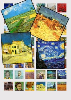 Digital Collage Sheet Van Gogh Paintings  . Print your own and as many as you like for scrabble tile jewelry etc
