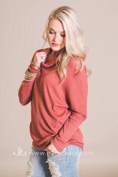 You've Got It Cowl Neck Dolman Sweater (Rust)