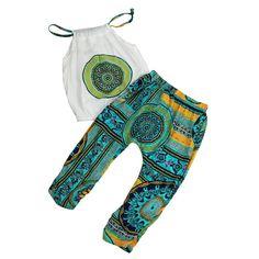 2 шт. набор Девушка печатные брючный костюм девушки набор летний пляж девушки одежду установить купить на AliExpress