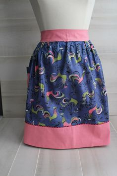 Vintage Style Hostess Apron Retro Pattern Roosters by theloftonbroome on Etsy