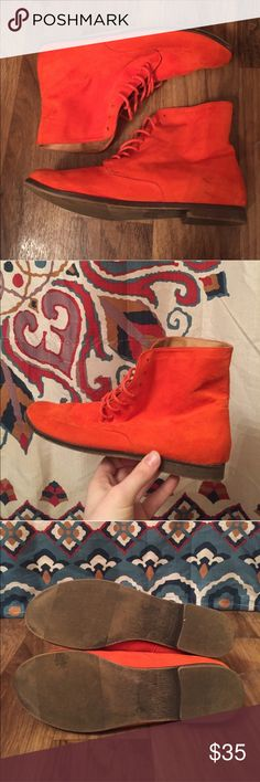 Pumpkin Orange Velvet Booties Pumpkin orange • lace up • booties • SZ 7 • great condition • velvet • great for fall • hate to get rid of these but my feet grew 😭😩 • Shoes Ankle Boots & Booties