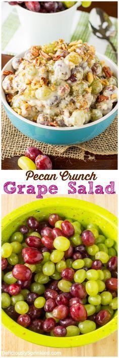 A recipe for Pecan Crunch Grape Salad. A cool, crisp, creamy and sweet Pecan Crunch Grape Salad, perfect side dish recipe.
