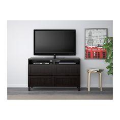 BESTÅ TV unit with drawers - Hanviken black-brown, drawer runner, push-open - IKEA