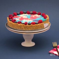 Watch this red, white and blue July 4th dessert video tutorial recipe to learn how to make a Patriotic Cheesecake.