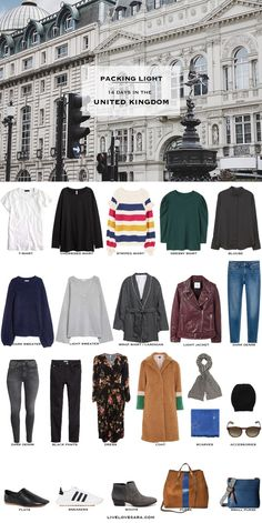 What to Pack for the United Kingdom - livelovesara : Packing List: 14 days in the United Kingdom. What to Pack. Fall Packing List, Packing For Europe, Packing Ideas, Winter Packing, Travel Packing, Travel Luggage, Fall Capsule Wardrobe, Travel Wardrobe, Travel Outfits
