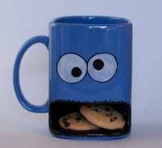 Cookie monster type dunk mug. $20.00, via Etsy.