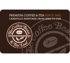 The Coffee Bean & Tea Leaf Gift Card - $25 $50 $100 - Email delivery Premium Coffee, Free Sign, Coffee Beans, Gift Cards, Tea, Daily Deals, Gifts, Delivery, Digital