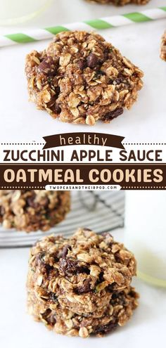 Zucchini Applesauce Oatmeal Cookies are healthy cookies you can enjoy for dessert, snack time, or even breakfast! This zucchini idea is hearty, soft, and chewy. It's the best dessert idea! Zucchini Cookie Recipes, Zucchini Cookies, Easy Cookie Recipes, Healthy Cookies, Oatmeal Applesauce Cookies, Favorite Cookie Recipe, Delicious Breakfast Recipes, Fun Desserts, Chocolate Chip Cookies