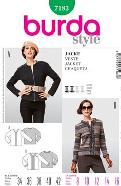 Purchase Burda 7183 MIsses Jacket and read its pattern reviews. Find other Coat/Jacket, sewing patterns.