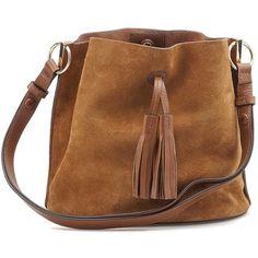 Miranda Bucket Bag ❤ liked on Polyvore featuring bags, handbags, brown purse, brown bucket bag, brown handbags, bucket bag and brown bag