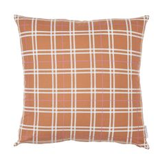 Tradition with a twist. Our butterscotch plaid with a bright berry accent combines crisp lines and classic sophistication in a chic palette. 100% Cotton Knife Edge Construction Brass zipper on bottom