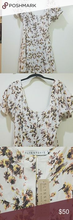 Floral dress Wide neck with button front Flynn Skye Dresses