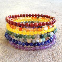 Chakras, Fine Faceted Gemstone Chakra Bracelets Stack. #chakra #braceletstacks #yoga