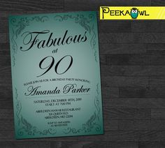 Customized 90th Birthday Invitation - 30th/ 40th / 50th / 60th / 70th/  80th / 100th Digital Party Invites - Personalized birthday invites!
