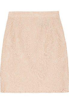 Needle & Thread Guipure lace mini skirt | PEACH LACE
