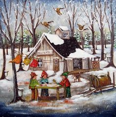 Anticipation of the maple sugar snow is literally alive here‼️ Stone Art Painting, Painting & Drawing, Vintage Pictures, Cute Pictures, Fashion Painting, Country Art, Naive Art, Whimsical Art, Print Artist