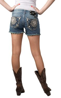 Miss Me Women's Light Wash Embroidered Daisy with Crystals Open Pockets Cut-Off Shorts