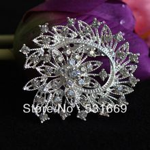 12 Pcs a Lot Silver Plated Rhinestone Brooch Big Flower Brooches For Women Wedding Clip Scarf Buckle Hijab Pins Brooches(China (Mainland))