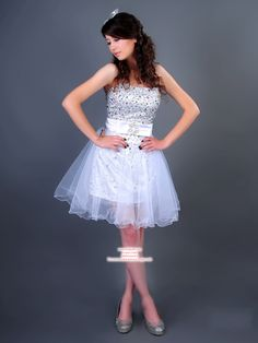 A-line Strapless Short/Mini Tulle Prom Dresses #AUSA0248416