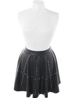Plus size studded shiny punk rock skirt