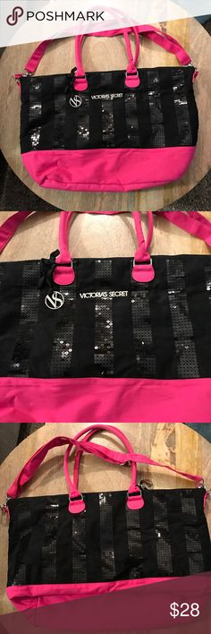 💕Victoria's Secret Tote💕 🎀New without tags VS Tote. Black & Pink. Sequin detailing with silver emblems. Removable longer strap included. 🎀 Victoria's Secret Bags Totes