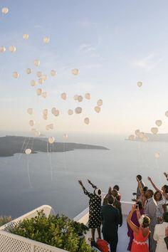 Santorini wedding- Wishing balloons