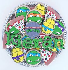 NInja Turtles cookies Cookies For Kids, Fancy Cookies, Iced Cookies, How To Make Cookies, Sugar Cookies, Turtle Birthday Parties, Ninja Turtle Birthday, Ninja Turtle Party, 4th Birthday