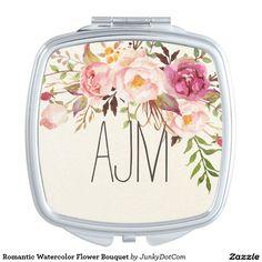 Romantic Watercolor Flower Bouquet Makeup Mirror @zazzle #junkydotcom Sept 2016