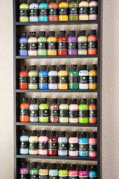 Wall storage for paint. From Creating Keepsakes magazine. #scrapbooking #scrapbook #organize #organization #creatingkeepsakes