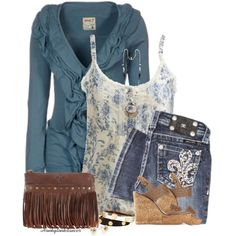 Floral Blue Tank by honkytonkdancer on Polyvore featuring Khujo, Wet Seal, Tory Burch, Patricia Nash, Sweetlime, Miss Me, missmejeans, toryburchearrings, toryburchbracelets and ToryBurchsandal