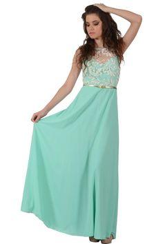 Φόρεμα διαφάνεια μακρύ σε γραμμή Α με λεπτομέρεια από δαντέλα στο μπούστο και έξτρα χρυσή ζώνη