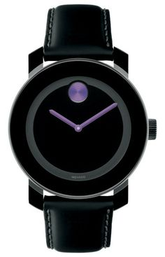 Movado Bold - Mid-size Movado BOLD watch, 36 mm black TR90 composite material and stainless steel case, black dial with purple accents, coated black leather strap with purple lining and black ion-plated stainless steel buckle, K1 crystal, Swiss quartz movement, water resistant to 30 meters.