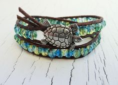 Turtle Bracelet, Blue and Green Wrap Bracelet, Double Leather Wrap, Turtle…